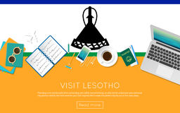 Visit Lesotho concept for your web banner or. Stock Images
