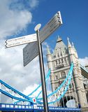Visit London. Touristic indicator showing the most famous attractions of London. Tower Bridge on the background Royalty Free Stock Photo