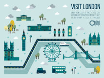 Visit London. Illustration of visit london map in travel concept Royalty Free Stock Images