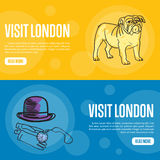 Visit London Touristic Vector Web Banners. Visit London touristic banners. Bulldog, bowler hat, pocket clock, gloves hand drawn vector illustration on colored Stock Images