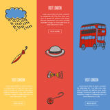 Visit London Touristic Vector Web Banners. Visit London banners. Rain cloud and umbrella, bowler hat, bow tie, pocket watch, double-decker bus hand drawn vector Stock Photos