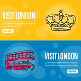 Visit London Touristic Vector Web Banners. Visit London touristic banners. Red double decker bus, Royal crown hand drawn vector illustrations on colored Royalty Free Stock Photography