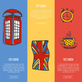 Visit London Touristic Vector Web Banners Royalty Free Stock Photos