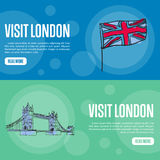Visit London Touristic Vector Web Banners. Visit London touristic banners. Union Jack flag and Tower bridge hand drawn vector illustrations on colored Stock Photography