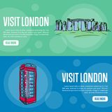 Visit London Touristic Vector Web Banners. Visit London touristic banners. Stonehenge and red telephone box hand drawn vector illustrations on colored Stock Image