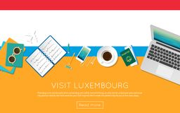 Visit Luxembourg concept for your web banner or. Visit Luxembourg concept for your web banner or print materials. Top view of a laptop, sunglasses and coffee Stock Photography