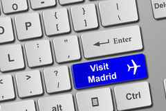 Visit Madrid blue keyboard button Royalty Free Stock Images