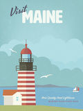 Visit Maine vintage poster with West Quoddy Head lighthouse Stock Photos