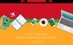 Visit Malawi concept for your web banner or print. Visit Malawi concept for your web banner or print materials. Top view of a laptop, sunglasses and coffee cup Stock Photo