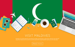 Visit Maldives concept for your web banner or. Stock Image