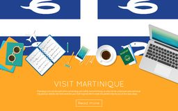 Visit Martinique concept for your web banner. Visit Martinique concept for your web banner or print materials. Top view of a laptop, sunglasses and coffee cup Stock Images