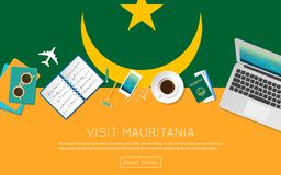 Visit Mauritania concept for your web banner. Visit Mauritania concept for your web banner or print materials. Top view of a laptop, sunglasses and coffee cup Royalty Free Stock Photography