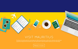 Visit Mauritius concept for your web banner or. Stock Photo
