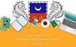 Visit Mayotte concept for your web banner or. Visit Mayotte concept for your web banner or print materials. Top view of a laptop, sunglasses and coffee cup on Stock Images