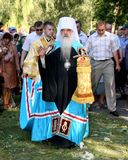 The visit of Metropolitan Philaret, the former Patriarchal Exarch of Belarus, Gomel. Stock Photos