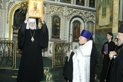 The visit of Metropolitan Philaret, the former Patriarchal Exarch of Belarus, Gomel. Stock Image