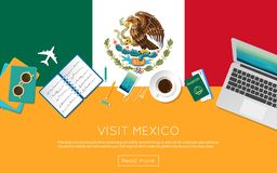 Visit Mexico concept for your web banner or print. Visit Mexico concept for your web banner or print materials. Top view of a laptop, sunglasses and coffee cup Royalty Free Stock Images