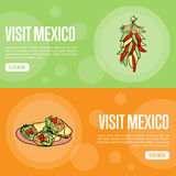 Visit Mexico Touristic Vector Web Banners Stock Photos