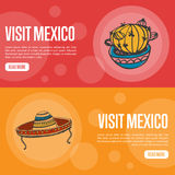 Visit Mexico Touristic Vector Web Banners. Visit Mexico banners. Cactus in pot, sombrero in ornaments hand drawn vector illustrations on national color Stock Photo