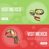 Visit Mexico Touristic Vector Web Banners Stock Photo