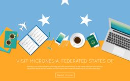 Visit Micronesia, Federated States Of concept for. Visit Micronesia, Federated States Of concept for your web banner or print materials. Top view of a laptop Stock Images