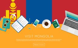 Visit Mongolia concept for your web banner or. Visit Mongolia concept for your web banner or print materials. Top view of a laptop, sunglasses and coffee cup on Royalty Free Stock Image