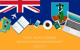 Visit Montserrat concept for your web banner or. Visit Montserrat concept for your web banner or print materials. Top view of a laptop, sunglasses and coffee Stock Photography