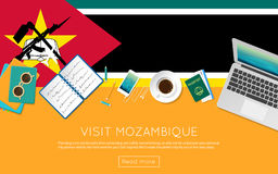 Visit Mozambique concept for your web banner or. Stock Photography
