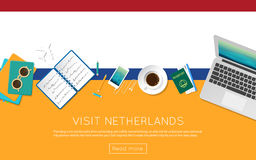Visit Netherlands concept for your web banner or. Stock Images