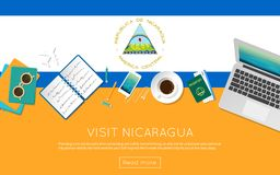 Visit Nicaragua concept for your web banner or. Visit Nicaragua concept for your web banner or print materials. Top view of a laptop, sunglasses and coffee cup Stock Photos