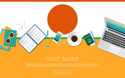Visit Niger concept for your web banner or print. Visit Niger concept for your web banner or print materials. Top view of a laptop, sunglasses and coffee cup on Stock Photo