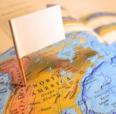 Visit North America. Map of North America with blank flag royalty free stock images