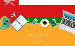 Visit Oman concept for your web banner or print. Visit Oman concept for your web banner or print materials. Top view of a laptop, sunglasses and coffee cup on Royalty Free Stock Photography