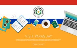 Visit Paraguay concept for your web banner or. Visit Paraguay concept for your web banner or print materials. Top view of a laptop, sunglasses and coffee cup on Royalty Free Stock Photos
