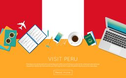 Visit Peru concept for your web banner or print. Visit Peru concept for your web banner or print materials. Top view of a laptop, sunglasses and coffee cup on Stock Image