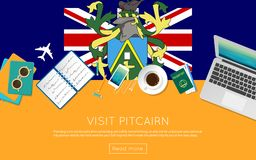 Visit Pitcairn concept for your web banner or. Visit Pitcairn concept for your web banner or print materials. Top view of a laptop, sunglasses and coffee cup on Stock Image