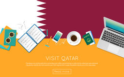 Visit Qatar concept for your web banner or print. Visit Qatar concept for your web banner or print materials. Top view of a laptop, sunglasses and coffee cup on Stock Photo
