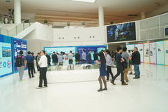 Visit the Qianhai Free Trade Zone Development Achievements Exhibition. People visit the Qianhai free trade zone development achievements exhibition, in Guangdong Stock Images