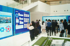 Visit the Qianhai Free Trade Zone Development Achievements Exhibition. People visit the Qianhai free trade zone development achievements exhibition, in Guangdong Stock Photo