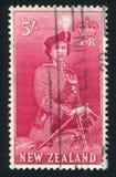 Visit of Queen Elizabeth II. NEW ZEALAND - CIRCA 1953: stamp printed by New Zealand, shows Visit of Queen Elizabeth II, circa  1953 Stock Image