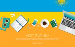Visit Rwanda concept for your web banner or print. Visit Rwanda concept for your web banner or print materials. Top view of a laptop, sunglasses and coffee cup Stock Image