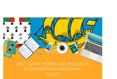 Visit Saint Pierre And Miquelon concept for your. Visit Saint Pierre And Miquelon concept for your web banner or print materials. Top view of a laptop Stock Image
