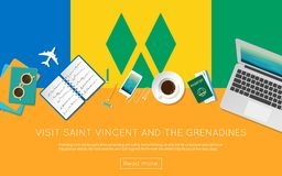 Visit Saint Vincent And The Grenadines concept. Stock Photography