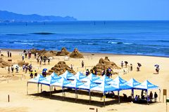 Visit the Sand Sculpture on beach Stock Photo