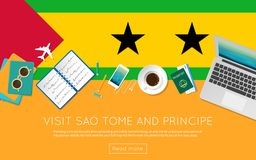 Visit Sao Tome and Principe concept for your web. Visit Sao Tome and Principe concept for your web banner or print materials. Top view of a laptop, sunglasses Stock Photography