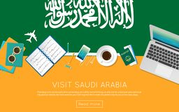 Visit Saudi Arabia concept for your web banner or. Visit Saudi Arabia concept for your web banner or print materials. Top view of a laptop, sunglasses and Royalty Free Stock Images