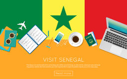 Visit Senegal concept for your web banner or. Stock Photography