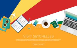 Visit Seychelles concept for your web banner or. Visit Seychelles concept for your web banner or print materials. Top view of a laptop, sunglasses and coffee Royalty Free Stock Photos
