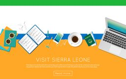 Visit Sierra Leone concept for your web banner or. Visit Sierra Leone concept for your web banner or print materials. Top view of a laptop, sunglasses and Royalty Free Stock Photography