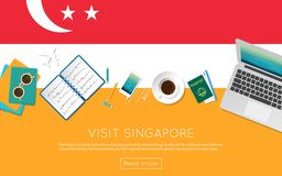 Visit Singapore concept for your web banner or. Visit Singapore concept for your web banner or print materials. Top view of a laptop, sunglasses and coffee cup Royalty Free Stock Image
